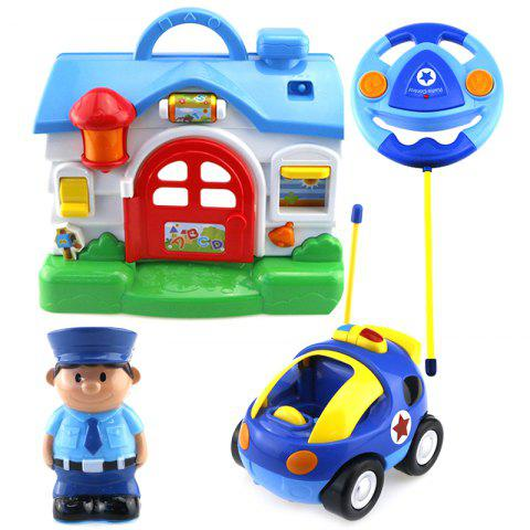 Cartoon House / Racing Car Remote Control Music Electric Toy for Kids - multicolor