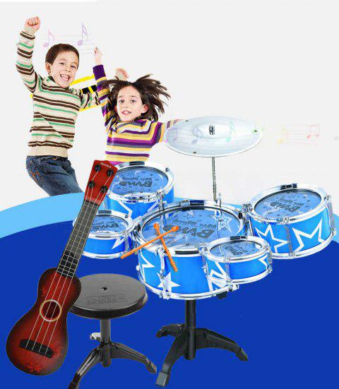 Educational Drum Kit Toy Musical Instrument for Beginners - ROYAL BLUE
