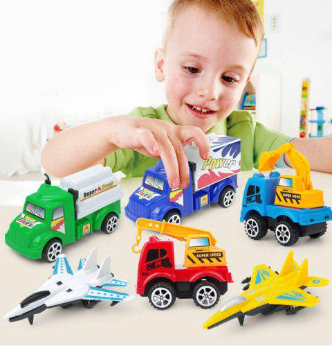 Creative Pull Back Car Plane Set Toy for Kids - multicolor A