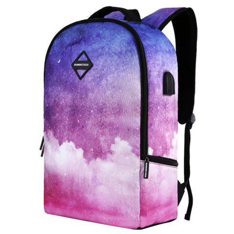 Creative Print Backpack with USB port - NEON PINK
