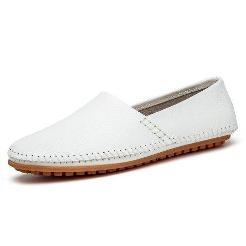 Fashion Leisure Slip-on Breathable Flat Men Casual Shoes - WHITE 41