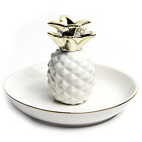 Pineapple Jewelry Gadget Ceramic Storage Dish Jar for Domestic, White