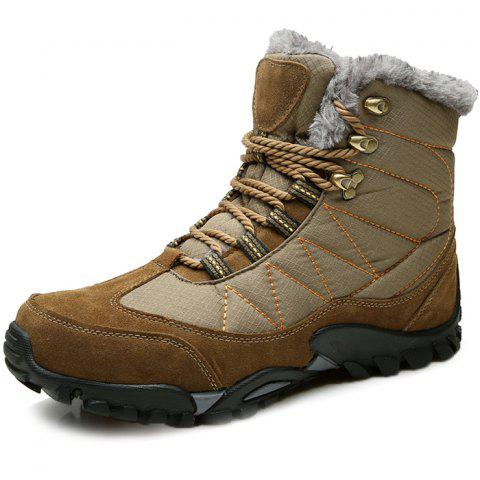 Outdoor Warm Comfortable Classic Lace-up Durable Snow Boots for Men - DARK KHAKI 45