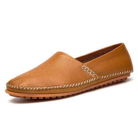 Fashion Leisure Slip-on Breathable Flat Men Casual Shoes - BROWN 42