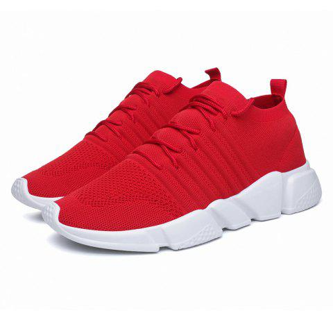 Men Fashionable Street Breathable Mesh Sneakers - CHESTNUT RED 46