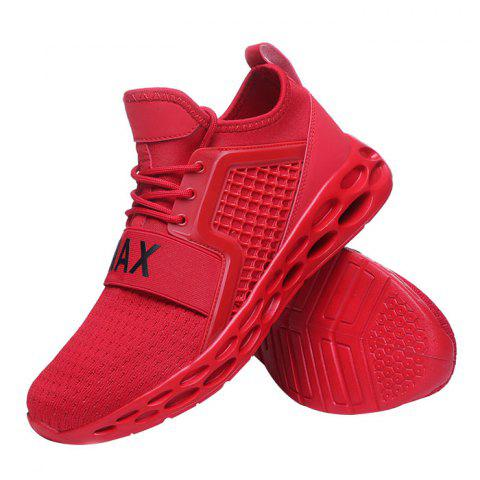 Breathable Shock-absorbing Anti-slip Sneakers for Men - LAVA RED 39