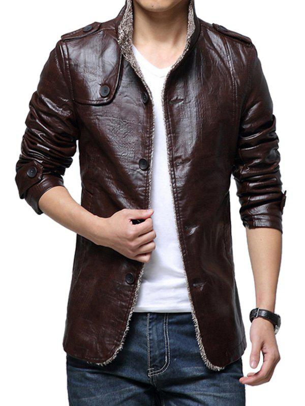 Thickening Casual PU Leather Jacket for Men - COFFEE M