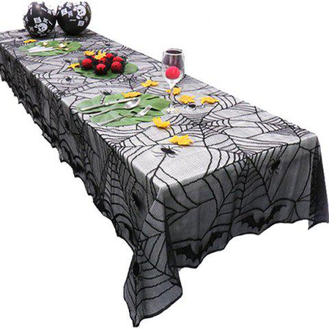 Black Halloween Lace Bat Spider Net Pattern Table Cloth - BLACK