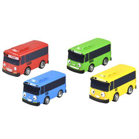 Cute Cartoon Pullback Bus Toy for Kids 4pcs - multicolor