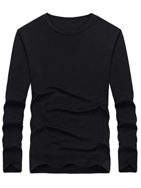 Casual Solid Color Comfortable Tee - BLACK M