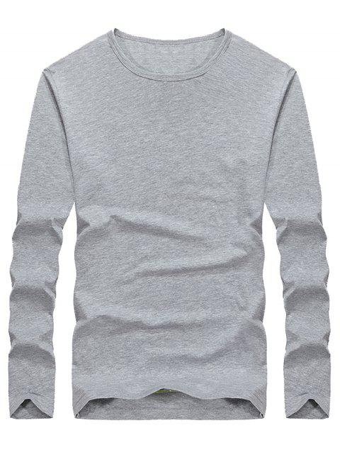 Casual Solid Color Comfortable Tee - GRAY L
