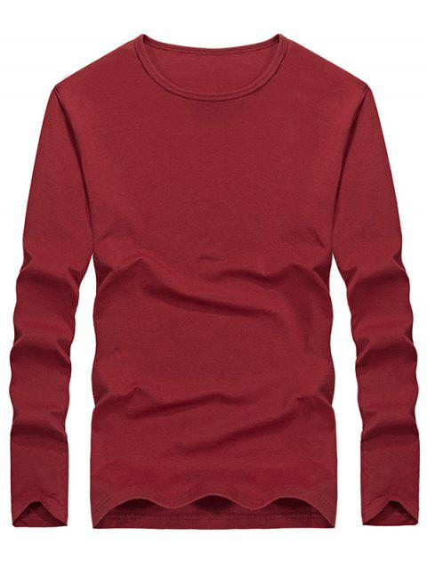 Casual Solid Color Comfortable Tee - RED WINE M