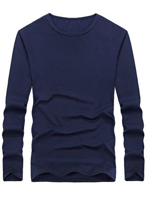 Casual Solid Color Comfortable Tee - DEEP BLUE M