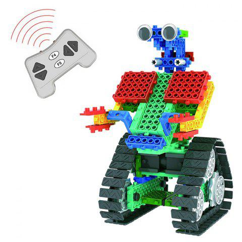 137pcs DIY 2-in-1 Remote Control Robot Educational Building Block Toy Jigsaw - multicolor