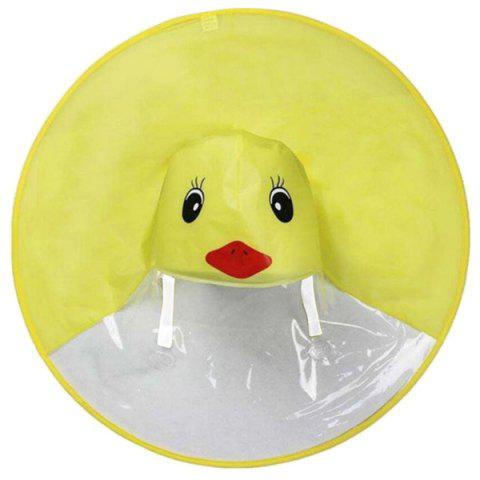 Foldable Portable Hands-free Children Yellow Duck Raincoat - YELLOW S