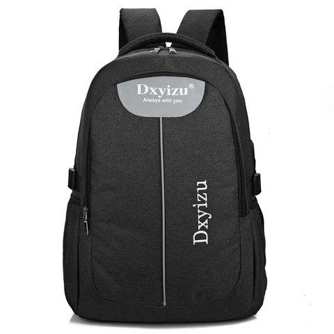 Fashion Durable Canvas Large Capacity Couple Backpack - JET BLACK