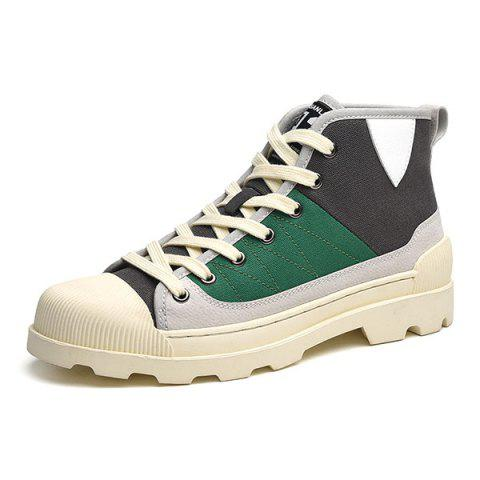 Canvas Casual Martin Boots Shoes for Men - MEDIUM SPRING GREEN EU 43