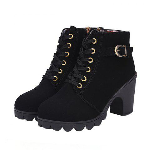 Casual Chunky Heel Ankle Boots for Women - BLACK 39