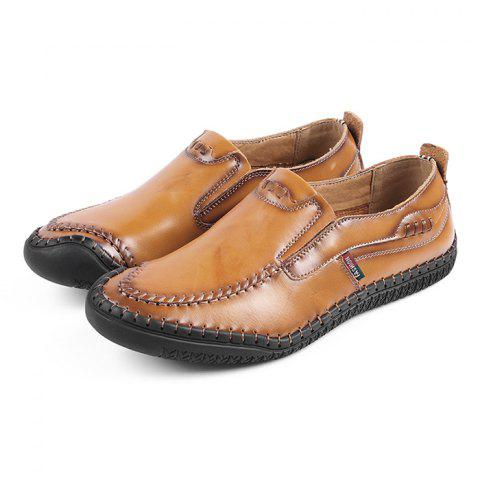 Stylish Genuine Leather Shoes for Men - LIGHT BROWN 43