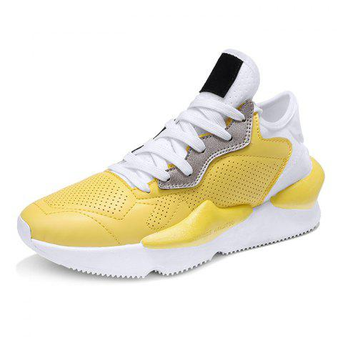 Fashion Air Mesh Sneakers for Men - YELLOW 43