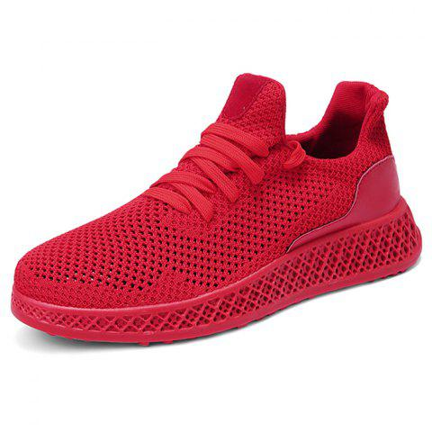 Men Mesh Fabric Casual Athletic Sports Shoes Sneakers - RED EU 42
