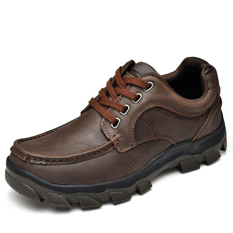 Male Fashionable Leather Sneakers - DEEP BROWN EU 43