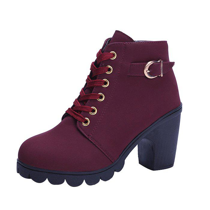 Casual Chunky Heel Ankle Boots for Women - RED WINE 35