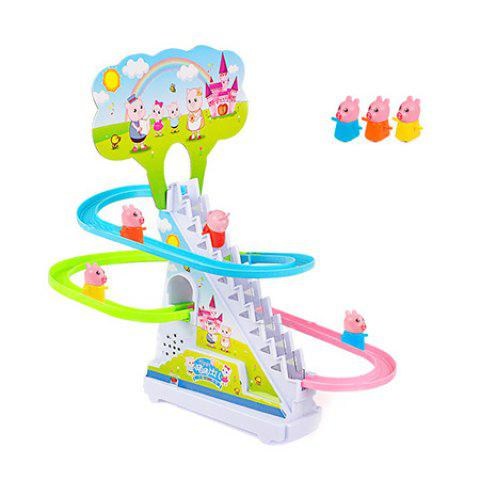 Creative Pig Crawling Ladder Set with Lighting Music Electric Track Toy - WHITE