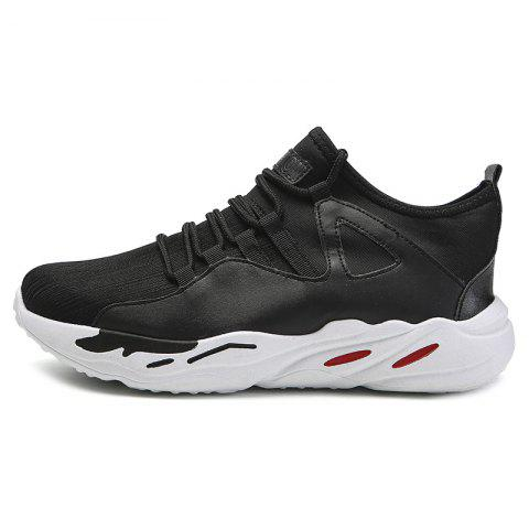 Men Breathable Casual Athletic Sports Shoes Sneakers - BLACK EU 44