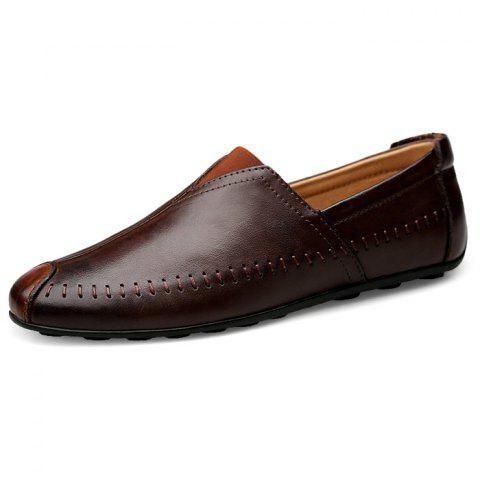 Chic Soft Slip-on Leather Casual Shoes for Couple - BROWN 44