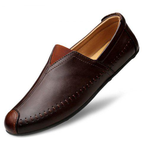 Stylish Breathable Comfort Casual Classic Leather Shoes for Men - BROWN EU 38