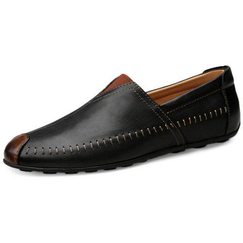 Chic Soft Slip-on Leather Casual Shoes for Couple - BLACK 43