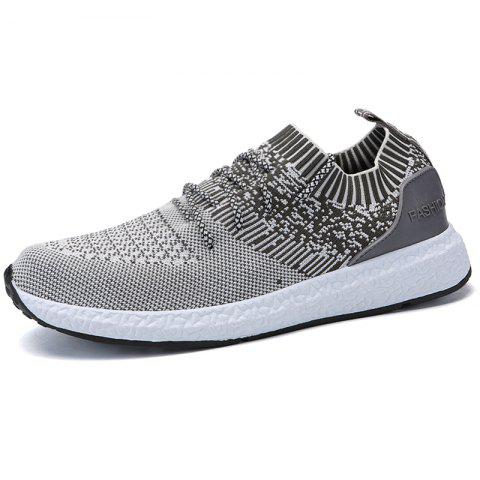 Stylish Breathable Anti-slip Woven Sneakers for Men - LIGHT GRAY 43