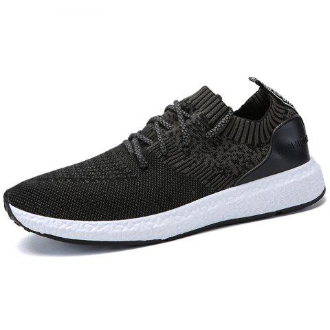 Stylish Breathable Anti-slip Woven Sneakers for Men - GRAY WOLF 43