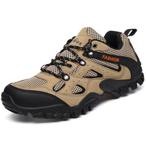 Outdoor Breathable Shock-absorbing Hiking Sports Shoes for Men - LIGHT KHAKI 42