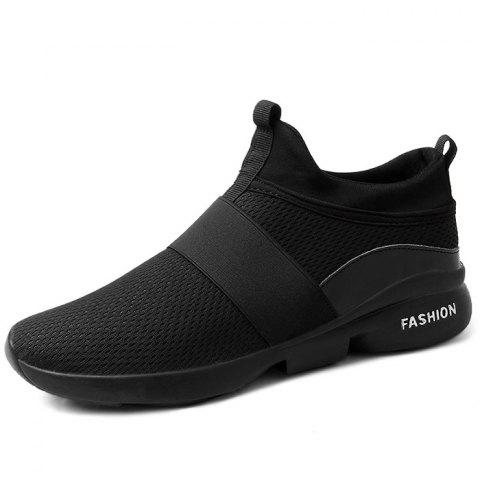 Male Mesh Wearable Casual Sports Running Shoes Sneakers - BLACK EU 45