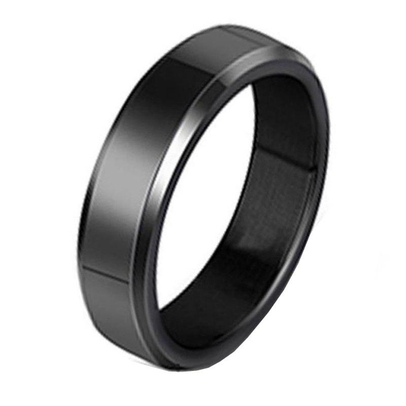 Stainless Steel Fashion Smooth Ring - BLACK 7