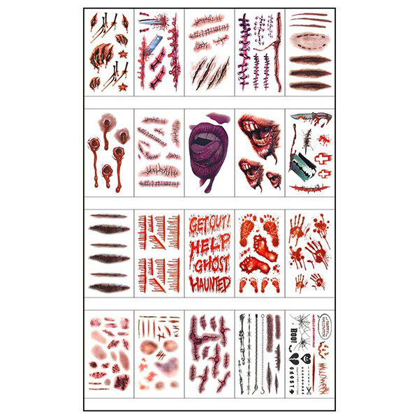 Waterproof Scary Pattern Sticker Halloween Tattoo 20pcs - multicolor A