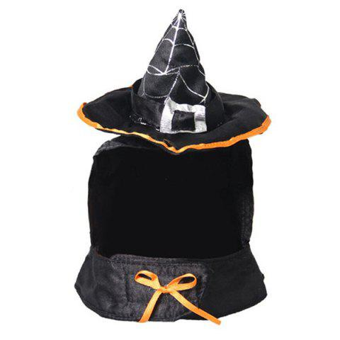 Halloween Cat Supplies Decoration Wizard Hat Bib Festive Dress - BLACK
