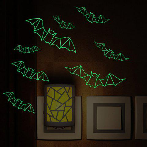 Halloween Luminous 3D Plastic Decoration Removable Wall Sticker - BLACK