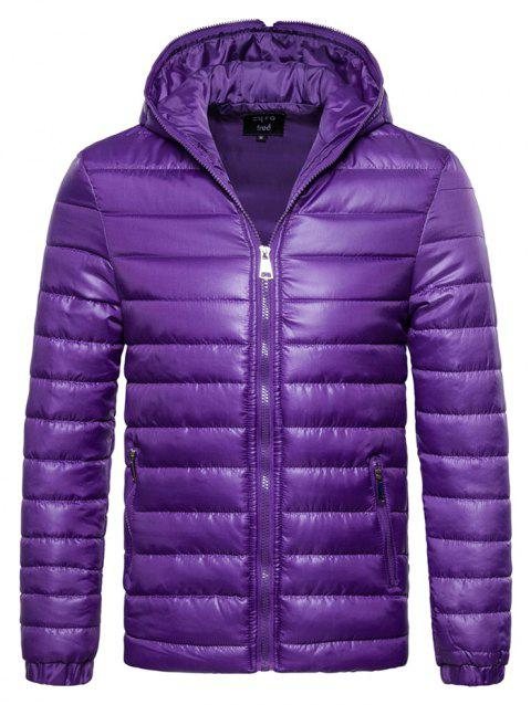 Outdoor Comfortable Warm Simple Thickening Hooded Parkas for Men - PURPLE 2XL