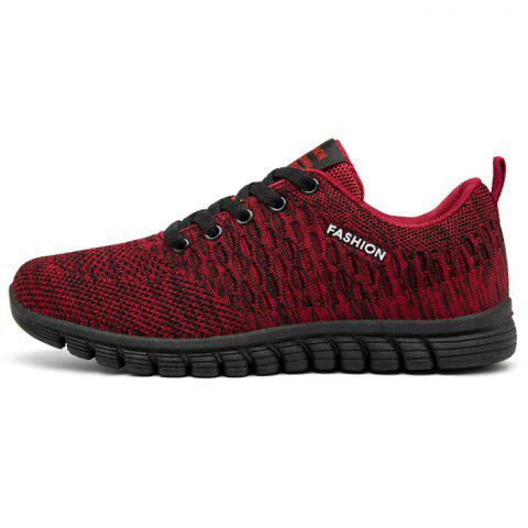 Men Lace Up Mesh Fabric Casual Athletic Shoes Sneakers - LAVA RED EU 41