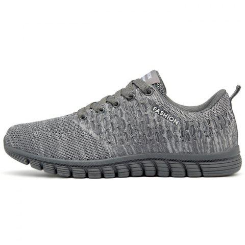 Men Lace Up Mesh Fabric Casual Athletic Shoes Sneakers - GRAY CLOUD EU 36
