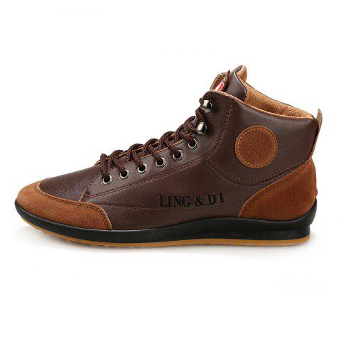 Stylish Comfortable Leisure Leather Casual Boots for Men - DEEP BROWN EU 44