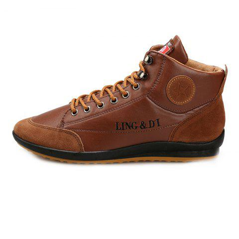 Stylish Comfortable Leisure Leather Casual Boots for Men - LIGHT BROWN EU 44