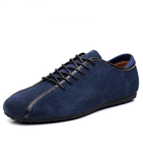 2019 Suede Loafers Casual Flat Shoes for Men In DEEP SKY BLUE EU 43 ... a402465ec15