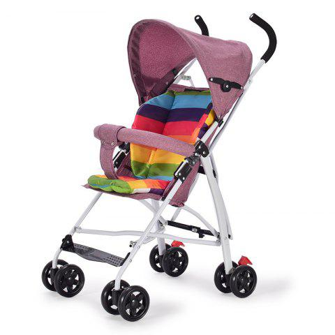 Ultralight Foldable Linen Anti-hump Back Baby Stroller Shock Absorber Cart - CHERRY RED