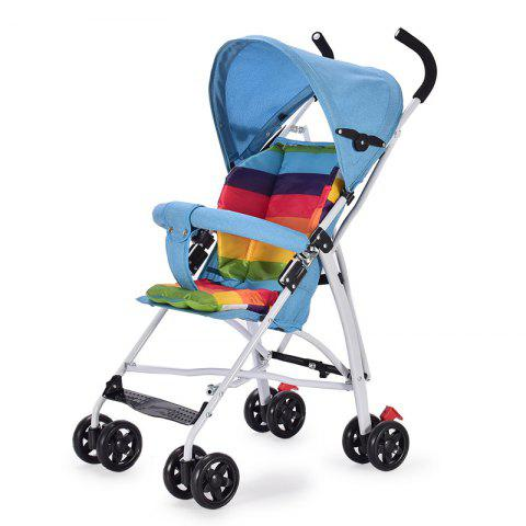 Ultralight Foldable Linen Anti-hump Back Baby Stroller Shock Absorber Cart - DODGER BLUE