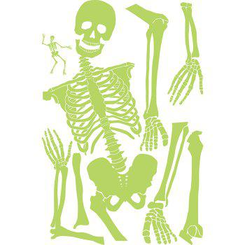 Halloween Decoration Horror Atmosphere Prop Noctilucent Skull Skeleton Wall Sticker - YELLOW GREEN
