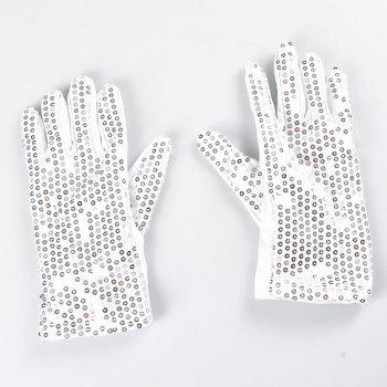 LED Seven-color Luminous Gloves Cool Dance Equipment Halloween Prom Party Gifts 2pcs - WHITE